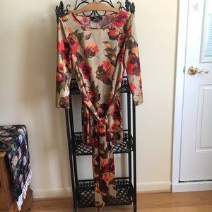 Dennis Basso Silky Floral Tie-Waist Tunic